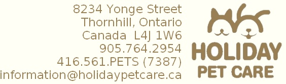 Holiday Pet Care | 8234 Yonge Street | Thornhill | Ontario | Canada | L4J 1W6 | 905-764-2954 | 416-561-7387 | Dog Daycare | Cagefree Dog Boarding | Dog Walking | Cat Sitting | Pet Sitting | Dog Sitting Services | Thornhill | Richmond Hill | Toronto | Ontario | Canada